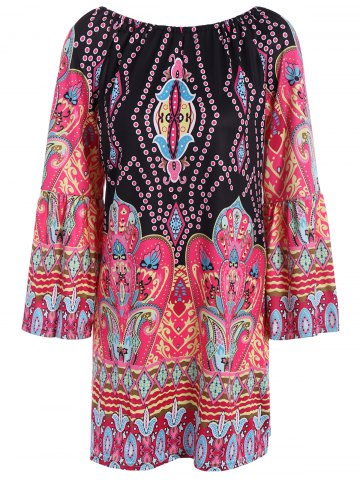 Buy Bohemian Off The Shoulder African Style Print Dress BLACK M