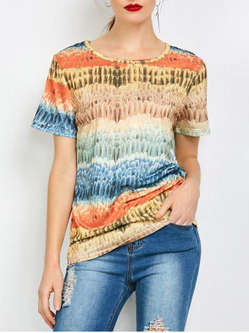 Fashion Color Block Funny Printed Tee COLORFUL S