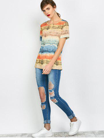 Best Color Block Funny Printed Tee - L COLORFUL Mobile