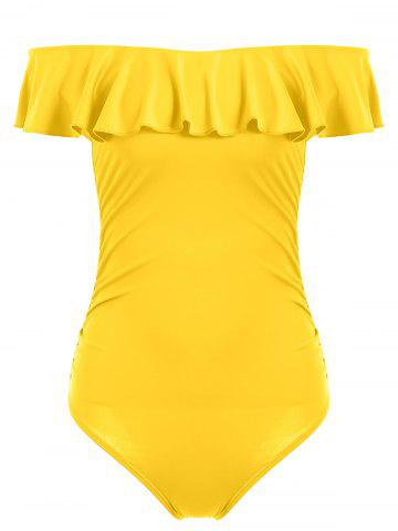 Outfit Off The Shoulder Ruffle One Piece Swimsuit YELLOW XL