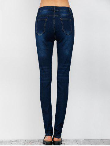 Buy Low Rise Ripped Skinny Jeans - S DEEP BLUE Mobile