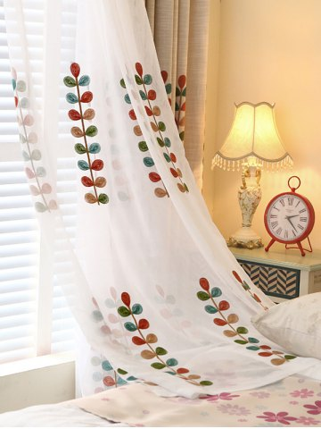 High Grade Embroidered Perforated Tulle Front Curtains - White - 100*270cm