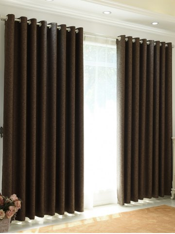 1Pcs Shading Grommet Perforated Blackout Window Curtain - Dun - 100*270cm