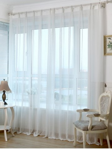 Concise Perforated Tulle Window Curtain For Living Room - White - 100*250cm