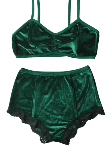 Unique High Waisted Lace Hem Velvet Bra Suit - M BLACKISH GREEN Mobile