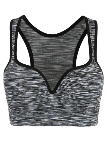 Outfits Low Impact Heathered Sports Bra - L GRAY Mobile