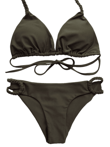 Affordable Braided Halter Plunge Bikini - L ARMY GREEN Mobile