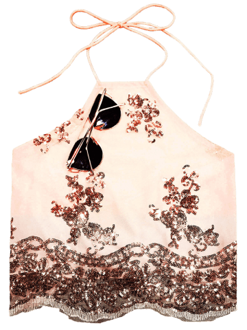 New Sequins Lace Up Backless Crop Top - S NUDE Mobile