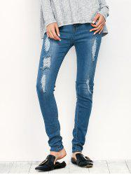 Midi Rise Distressed Pencil Jeans - BLUE