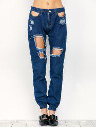 Ripped Pencil Jogger Jeans - Bleu S