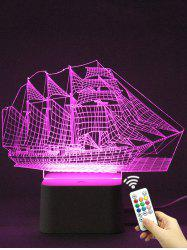 Colorful 3D Visual LED Ship Shape Touch Night Light With Remote Control
