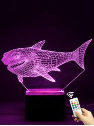Colorful 3D Visual LED Shark Touch Night Light With Remote Control - TRANSPARENT