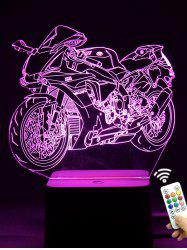 Colorful 3D Visual LED Touch Remote Control Motorcycle Night Light - TRANSPARENT