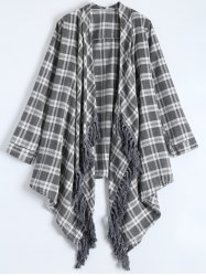 Chic Turn-Down Neck 3/4 Sleeve Plaid Asymmetrical Women's Cardigan