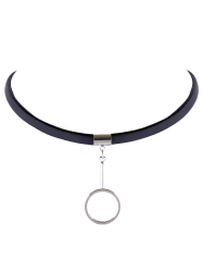 Circle Faux Leather Choker Necklace -