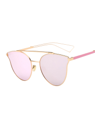 Hollow Out Leg Cat Eye Mirrored Sunglasses
