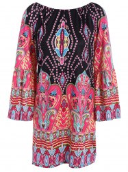 Bohemian Off The Shoulder African Style Print Dress - BLACK
