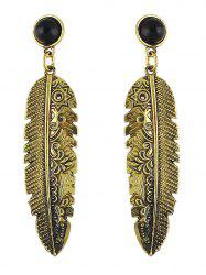 Feather Faux Gem Drop Earrings