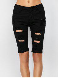 Ripped Bermuda Denim Long Shorts - BLACK