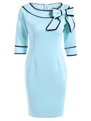 Slash Neck bowknot Robe crayon - Bleu Clair