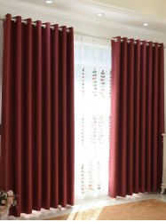 1Pcs Shading Grommet Perforated Blackout Window Curtain - BRICK-RED