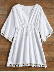 Tassel Drawstring Short Sleeve Kimono Cover-Up - WHITE
