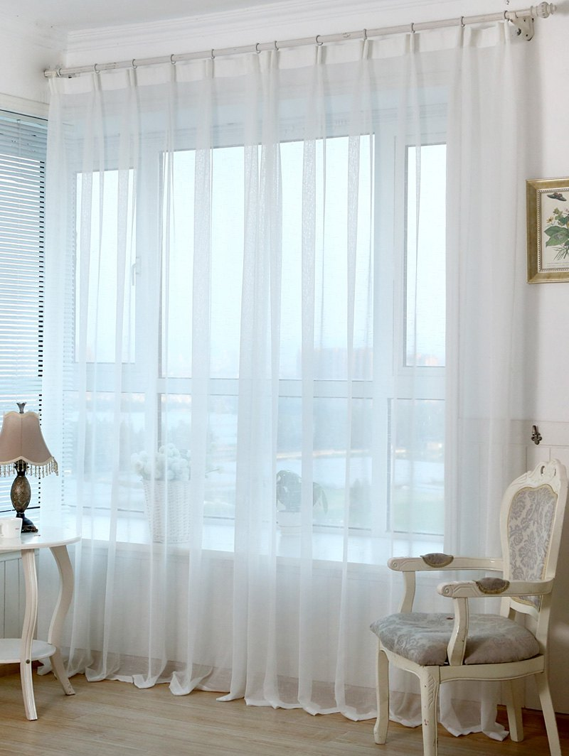 Concise Perforated Tulle Window Curtain For Living RoomHOME<br><br>Size: 100*270CM; Color: WHITE; Applicable Window Type: French Window; Function: Translucidus (Shading Rate 1%-40%); Installation Type: Exterior Installation; Location: Living Room,Window; Material: Voile Curtain; Opening and Closing Method: Left and Right Biparting Open; Pattern Type: Solid; Processing Accessories Cost: Excluded; Style: European and American Style; Technics: Woven; Type: Curtain; Use: Cafe,Home,Office; Weight: 0.3240kg; Package Contents: 1 x Window Curtain;