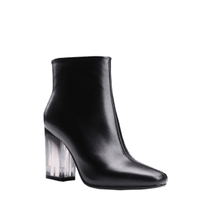Square Toe Clear Heel Zipper Ankle Boots -