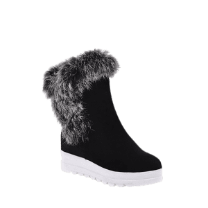 Platform Furry Short Boots - BLACK 37