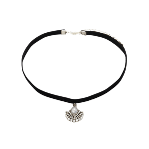 Faux Leather Velvet Rhinestone Geometric Choker -