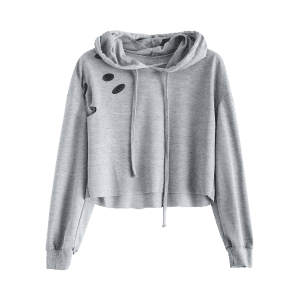 Polka Dot Cut Out Cropped Short Hoodie - LIGHT GREY L