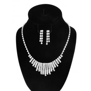 Rhinestone Hollow Out Necklace and Earrings