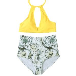 High Waisted Halter Neck Keyhole Bikini - GREEN AND YELLOW L