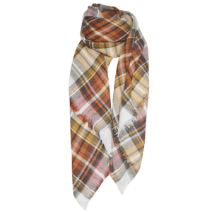 Outdoor Plaid Print Fringed Square Blanket Shawl Scarf -