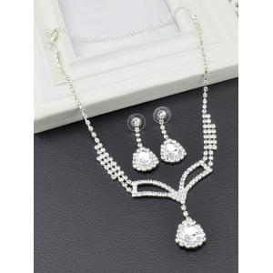 Rhinestone Embellished Teardrop Necklace and Earrings -