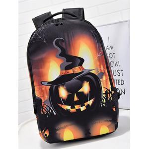 Pumpkin Printed Colour Spliced Halloween Backpack -