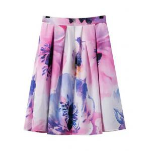Stylish Floral Print Cami Crop Top and A-Line Skirt Women's Suit -