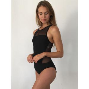 Mesh Panel High Neck Backless Swimsuit -