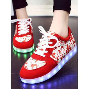 Trendy Lighted and Print Design Sneakers For Women - RED 39