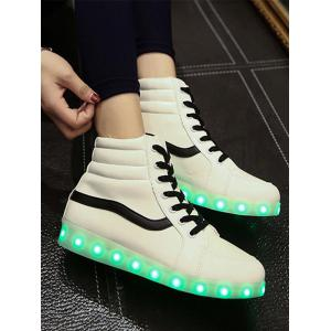 Stylish Led Luminous and High Top Design Sneakers For Women - WHITE 39