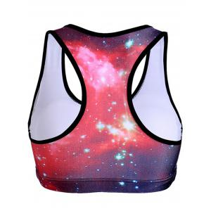 U-Neck Racer Back Star Print Women's Sports Bra -
