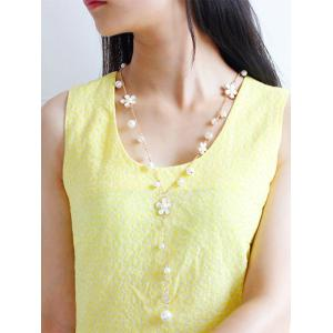 Artificial Pearl Floral Beaded Sweater Chain - WHITE