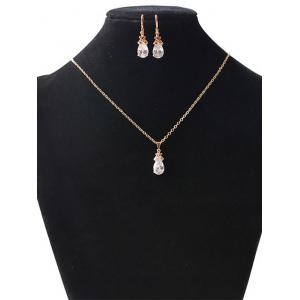 Floral Water Drop Wedding Jewelry Set - GOLDEN