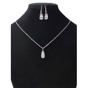 Floral Water Drop Wedding Jewelry Set - SILVER