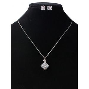 Rhinestone Square Wedding Jewelry Set - SILVER