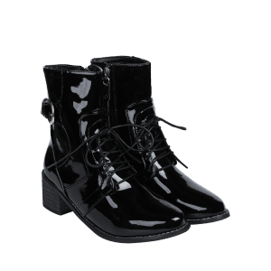Patent Leather Chunky Heel Combat Boots -