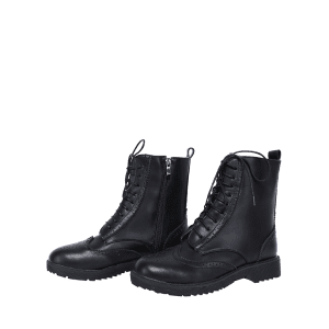 Casual Tie Up and Engraving Design Short Boots For Women - BLACK 38