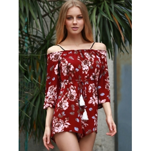 Stylish Off The Shoulder Floral Print Women's Playsuit -
