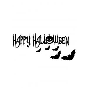 Room Decoration Wordart Happy Halloween Bat Design Vinyl Wall Sticker -