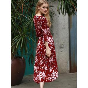 Plunging Neck 3/4 Sleeve Floral Print Women's Dress - WINE RED XL
